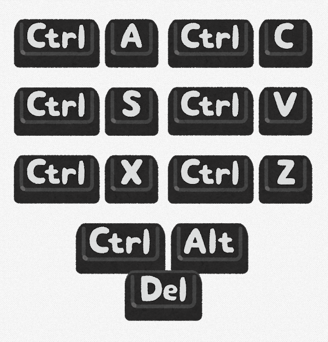 Windowsの代表的なショートカットキーの組み合わせのイラスト
