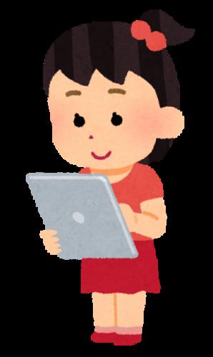 タブレットを操作する女の子のイラスト