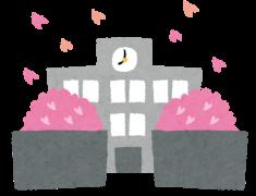 桜が咲く学校のイラスト