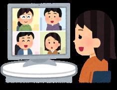 オンライン会議に参加する女性のイラスト
